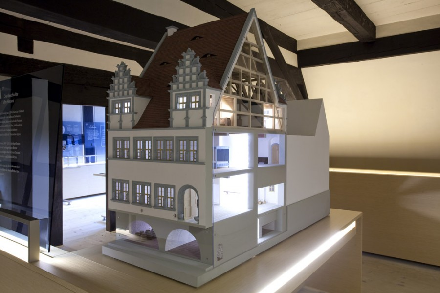 Heinrich-Schütz-Haus Weißenfels | Model showing the structure and use of the building during Heinrich Schütz's life time