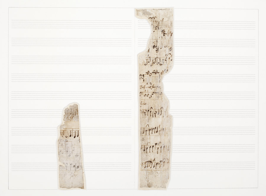 Heinrich-Schütz-Haus Weißenfels | Two music fragments in Heinrich Schütz's hand, discovered inside the building