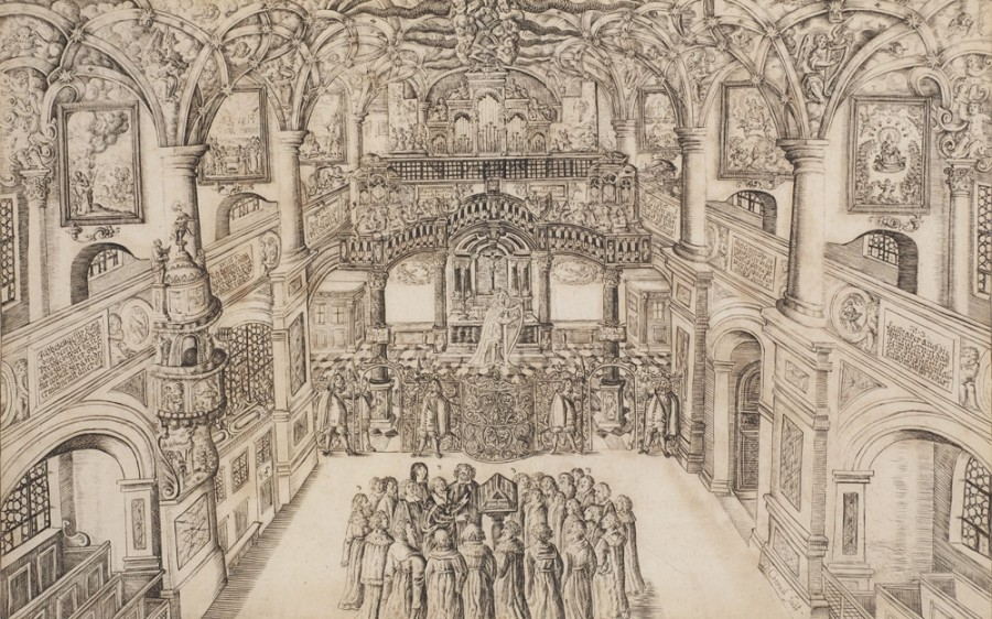 Heinrich-Schütz-Haus Weißenfels | Heinrich Schütz, surrounded by the members of his court orchestra in the Dresden Palace Chapel