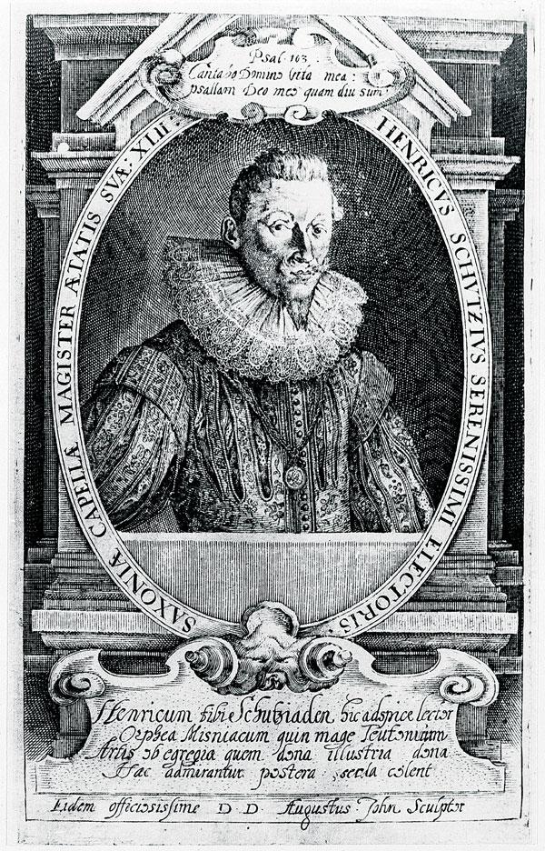 Heinrich-Schütz-Haus Weißenfels | Schütz, age 42. Engraving by August John, 1627